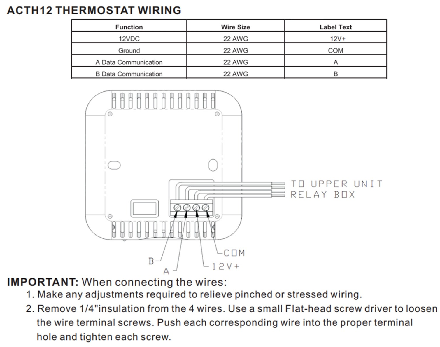 i need a wire diagram for the ACTH12 thermostat? (Advent Air ACTH12 Digital  Wall Thermostat) | Advent Air Thermostat Wiring Diagram |  | RVupgrades.com RV Parts & Accessories Q & A